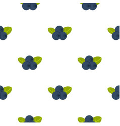 Fresh blueberries with leaves pattern flat vector