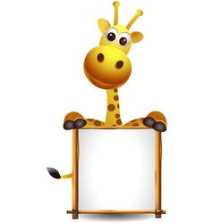 funny giraffe cartoon with blank sign vector image vector image