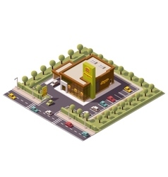isometric fast food restaurant vector image