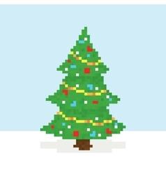 Pixel art christmas tree postcard vector image