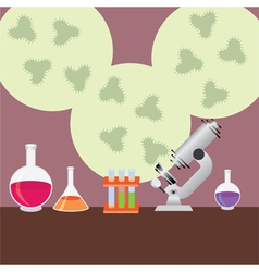 test tubes and microscope vector image vector image