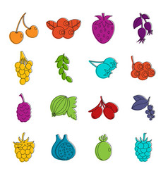berries icons doodle set vector image vector image