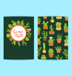 card template with lettering we are cacti vector image vector image