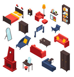 living room furniture icons set vector image