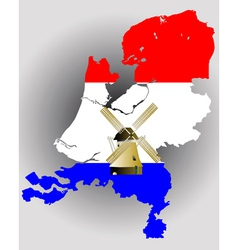 netherlands map with windmill vector image