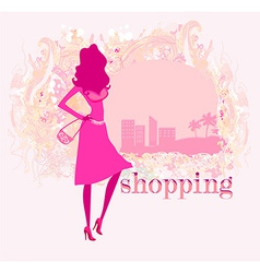 abstract fashion girl Shopping - vector image vector image