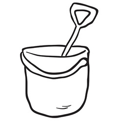 black and white cartoon bucket and spade vector image vector image