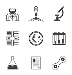 Black icons for bacteriology vector image