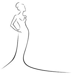 black line woman vector image