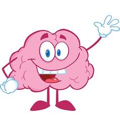 Brain Cartoon Character Waving For Greeting vector image