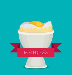 Breakfast soft boiled egg vector