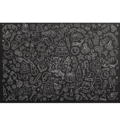 Chalkboard hand drawn Doodle set of New vector image