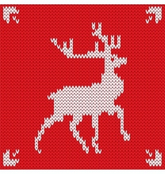 Christmas Knitted background with deer vector image