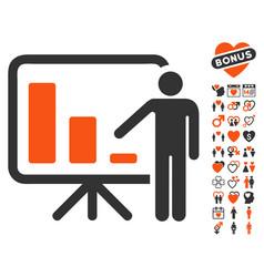 Crisis reporting person icon with dating bonus vector