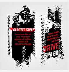 grunge motorcross banners vector image vector image