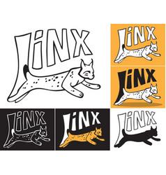 lynx jumping inscription vector image vector image