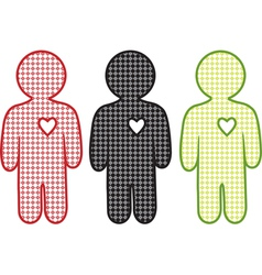 men and heart vector image vector image