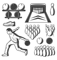 Monochrome vintage bowling elements collection vector