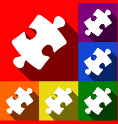 puzzle piece sign set of icons with flat vector image