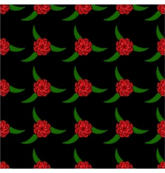 Seamless pattern of red rose vector image