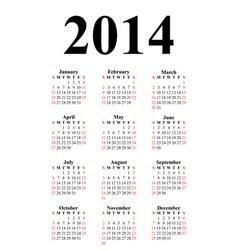 vertical calendar for 2014 vector image