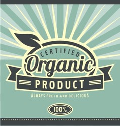 Vintage organic product poster design vector image vector image