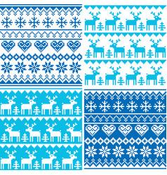 Winter pattern cross stitch collection winter sea vector