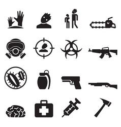 zombie icons set vector image