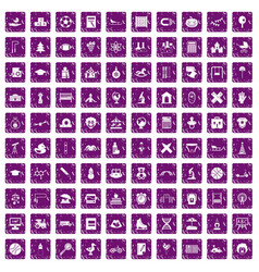 100 kids icons set grunge purple vector image