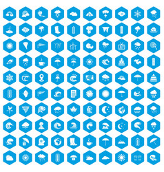 100 weather icons set blue vector