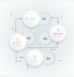 Abstract 3d white paper circle on circuit board vector