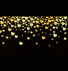 abstract dark background with golden hearts vector image