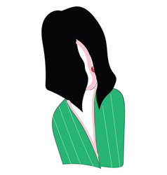 abstract portrait of a girl with black hair in a vector image