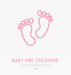 baby feet thin line icon vector image