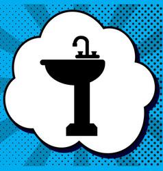 bathroom sink sign black icon in bubble vector image