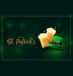 beer mug and leprechaun hat for st patricks day vector image
