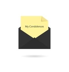 black envelope with my condolences inscription vector image
