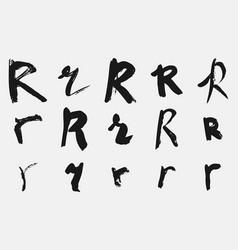 Black letter r written in grunge calligraphy vector