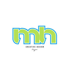 blue green alphabet letter mh m h logo icon design vector image