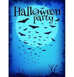 Blue Halloween party background with flying bats vector image