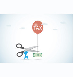 Businessman holding scissors to cut tax vector