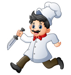 cartoon chef running with a knife vector image