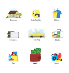 Cartoon monthly expenses color icons set finance vector