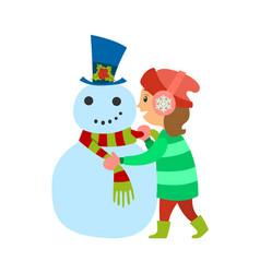 christmas holidays of girl winter vacations of kid vector image