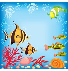 Colored fish under water vector