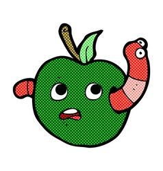 Comic cartoon worm in apple vector