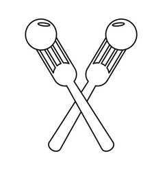 Crossed fork with fruit tasty thin line vector