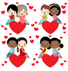 Diverse kids couples sitting on hearts valentine vector