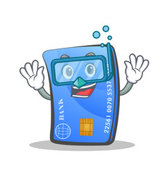 Diving credit card character cartoon vector