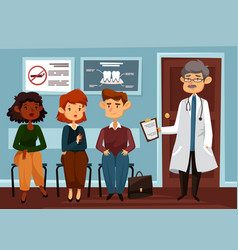 doctor or dentist with people waiting in line vector image